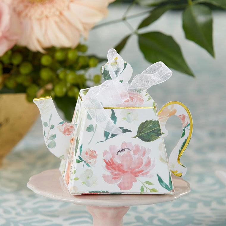 Floral Teapot Favor Box - Love Wedding Shop