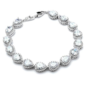 Silver Framed Pear Cubic Zirconia Bracelet - Love Wedding Shop