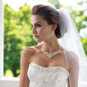 Bride Wearing Freshwater Pearl and Crystal Wedding Jewelry Set - Love Wedding Shop