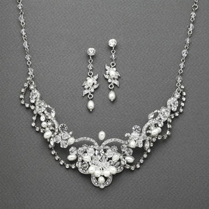 Silver Plated Freshwater Pearl and Crystal Wedding Jewelry Set - Love Wedding Shop