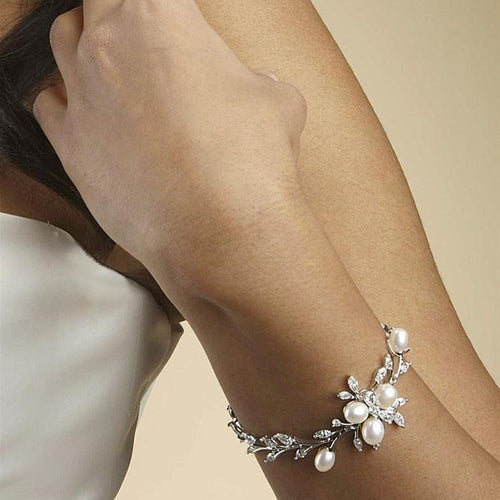 Freshwater Pearl and Cubic Zirconia Bridal Bracelet - Love Wedding Shop