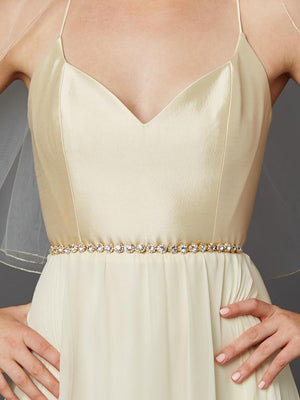 Bride Wearing Gold Plated Genuine Preciosa Crystal Wedding Dress Belt - Love Wedding Shop