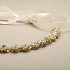Gold Plated Genuine Preciosa Crystal Wedding Dress Belt - Love Wedding Shop