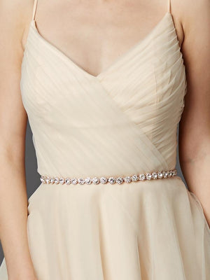 Woman Wearing Rose Gold Plated Genuine Preciosa Crystal Wedding Dress Belt - Love Wedding Shop