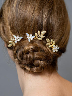 Woman Wearing Set of 3 Gold Floral Bridal Hair Pins - Love Wedding Shop