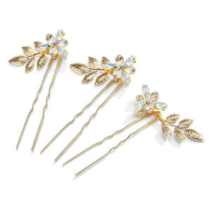 Set of 3 Gold Floral Bridal Hair Pins with Opal Crystal Flowers and Etched Gold Leaves - Love Wedding Shop
