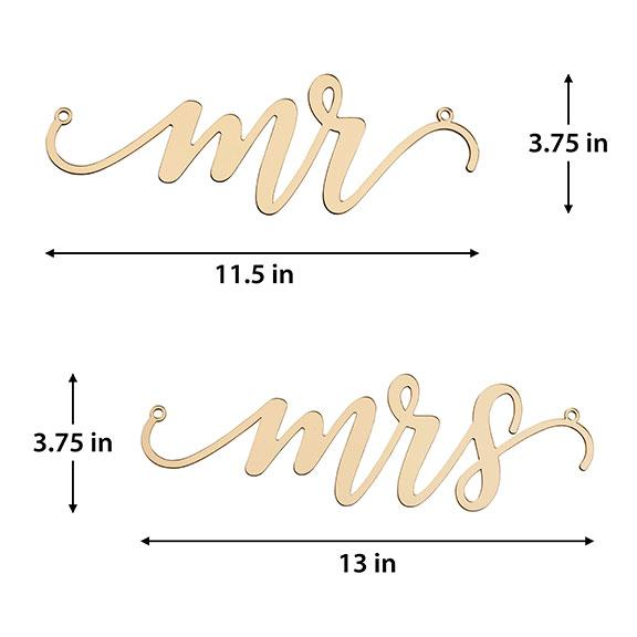 Acrylic Gold Mr. and Mrs. Chair Signs - Love Wedding Shop