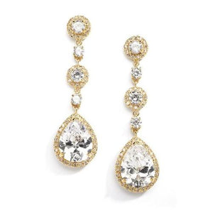Gold Pear-Shaped CZ Dangle Earrings - Love Wedding Shop