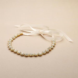 Gold Plated Preciosa Crystal Headband with Ivory Ribbons - Love Wedding Shop