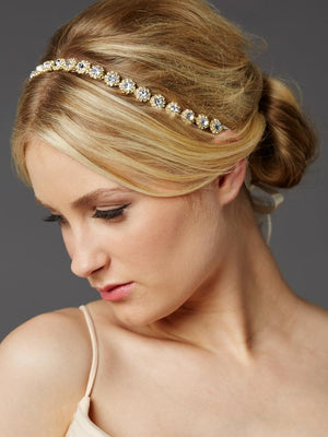 Woman Wearing Gold Plated Genuine Preciosa Crystal Headband