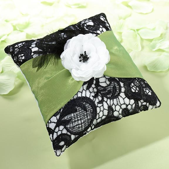 Green and Black Ring Pillow - Love Wedding Shop