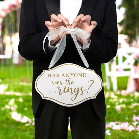 White and Gold Has Anyone Seen The Rings Wedding Sign - Love Wedding Shop