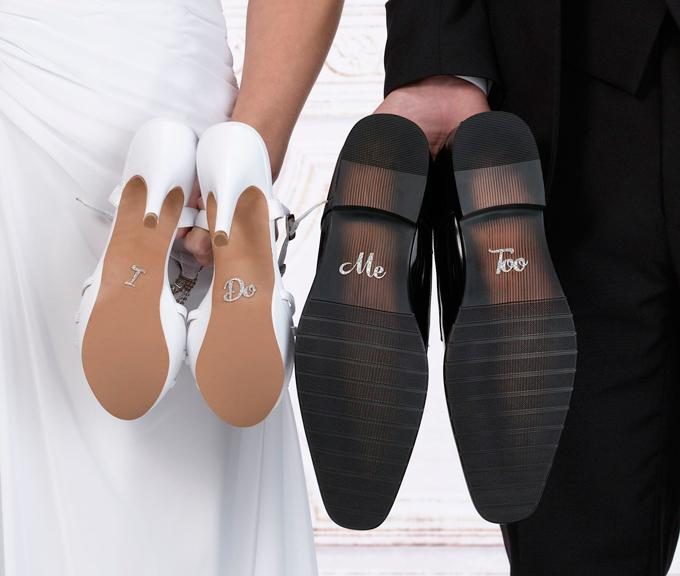 Silver Glitter I Do, Me Too Shoe Stickers on Bride and Groom's Shoe Soles - Love Wedding Shop
