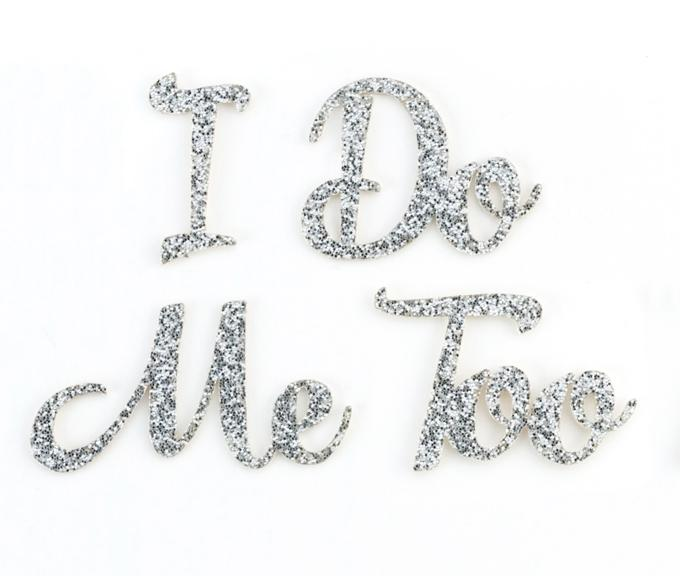 Pair of Silver Glitter I Do, Me Too Shoe Stickers - Love Wedding Shop