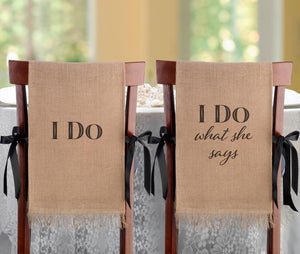 I Do Burlap Chair Covers - Love Wedding Shop