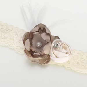 Ivory and Taupe Vintage Wedding Garter - Love Wedding Shop