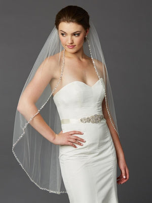Bride Wearing Ivory Fingertip Length Beaded Edge Bridal Veil - Love Wedding Shop
