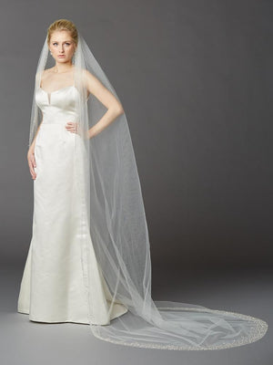 Bride Wearing Ivory Beaded Edge Cathedral Veil - Love Wedding Shop