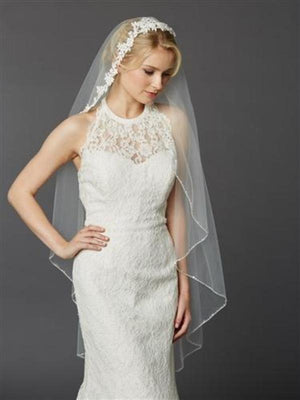 Semi-waltz Length Ivory Beaded Lace Top Bridal Veil - Love Wedding Shop