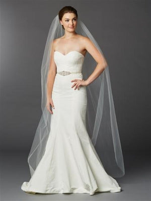 Ivory Floor Length Cut Edge Wedding Veil -Love Wedding Shop