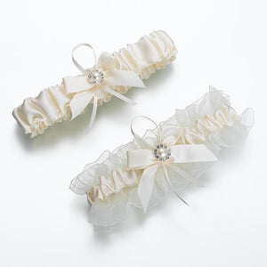 Ivory Satin Wedding Garter Set - Love Wedding Shop