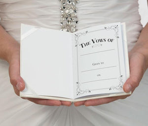 Inside Page of Ivory Satin Wedding Vow Books  - Love Wedding Shop
