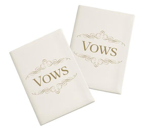 Set of 2 Ivory Satin Wedding Vow Books  - Love Wedding Shop