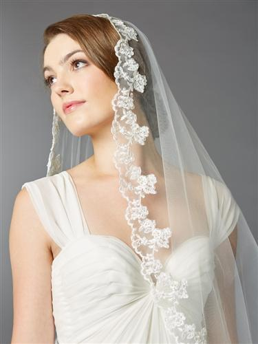 Ivory Scalloped Lace Edge Cathedral Mantilla Wedding Veil - Love Wedding Shop