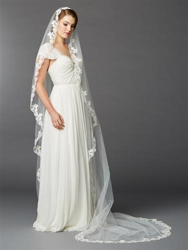 Ivory Scalloped Lace Edge Mantilla Cathedral Wedding Veil - Love Wedding Shop