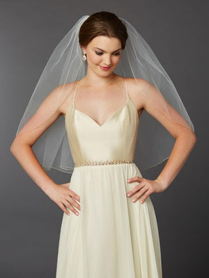 Elbow Length Gold Pencil Edge Bridal Veil - Love Wedding Shop