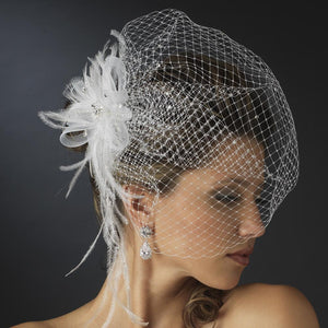 Jeweled Feather Fascinator with Russian Birdcage Veil - Love Wedding Shop