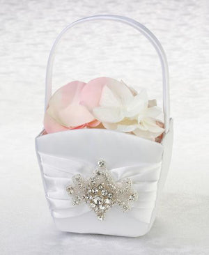 White Satin Jeweled Motif Flower Girl Basket - Love Wedding Shop