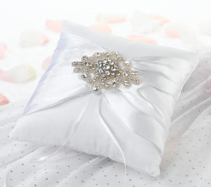 Jeweled Motif White Ring Bearer Pillow - Love Wedding Shop