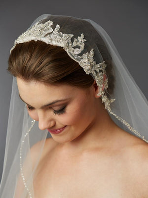 Bride Wearing Ivory Fingertip Silver Lace Applique Headpiece Veil- Love Wedding Shop