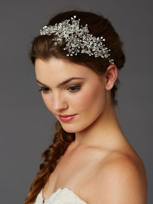 Bride Wearing Lavish Silver Crystal Hair Vine - Love Wedding Shop