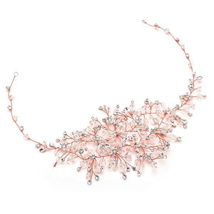 Lavish Rose Gold Crystal Hair Vine - Love Wedding Shop