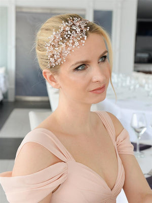 Bridesmaid Wearing Lavish Rose Gold Crystal Hair Vine - Love Wedding Shop