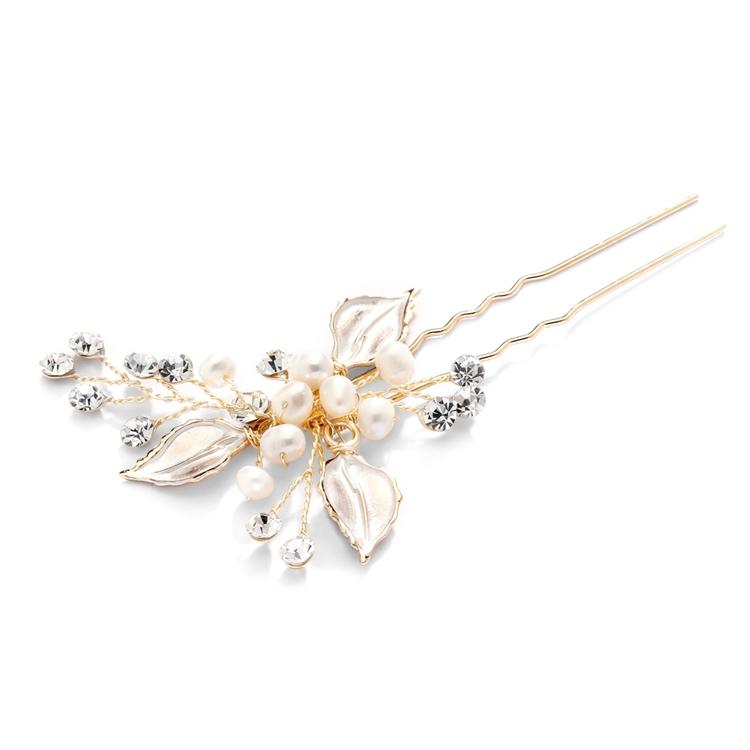 Leaf and Pearl Gold Bridal Hair Pin with Crystal Sprays - Love Wedding Shop