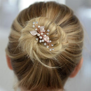 Woman Wearing Leaf and Pearl Rose Gold Bridal Hair Pin  - Love Wedding Shop