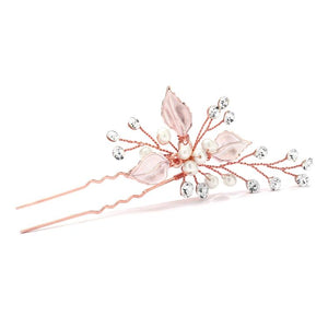 Leaf and Pearl Rose Gold Bridal Hair Pin with Crystal Sprays - Love Wedding Shop