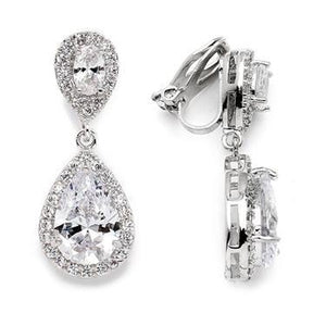 Lustrous Clip-On Cubic Zirconia Teardrop Wedding Earrings - Love Wedding Shop
