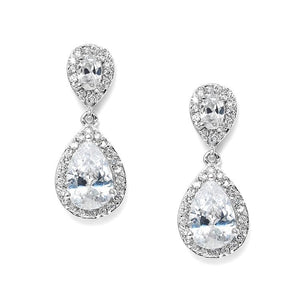 Lustrous Clip-On Cubic Zirconia Teardrop Earrings - Love Wedding Shop