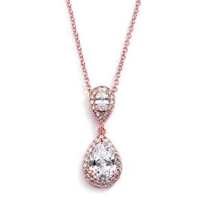 Rose Gold Plated Cubic Zirconia Teardrop Wedding Pendant - Love Wedding Shop