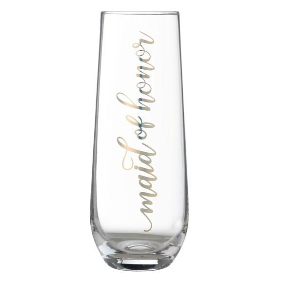 Maid of Honor Stemless Toasting Glass with Gold Script Lettering - Love Wedding Shop