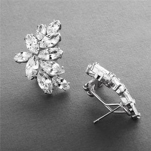 Marquis Cubic Zirconia Cluster Earrings with French Pierced Backings  - Love Wedding Shop