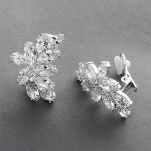 Clip-on Marquis Cubic Zirconia Cluster Earrings - Love Wedding Shop