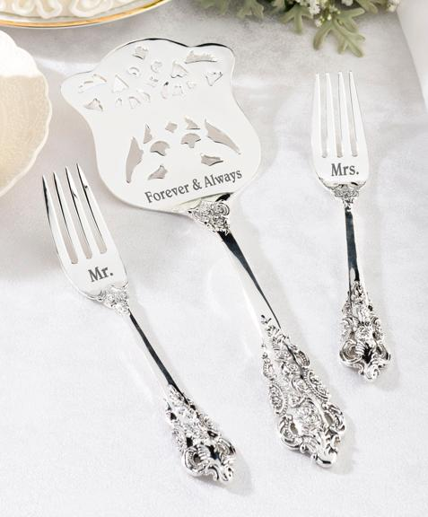 Mr. and Mrs. Cake Forks and Server Set - Love Wedding Shop