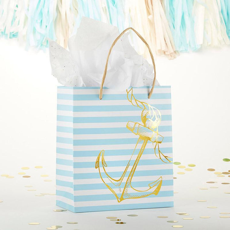 White and Blue Striped Nautical Wedding Welcome Bag - Love Wedding Shop