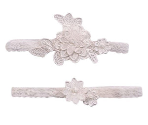 Off-White Dimensional Floral Applique Wedding Garter Set - Love Wedding Shop