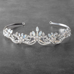 Silver Plated Opal and Crystal Wedding Tiara - Love Wedding Shop